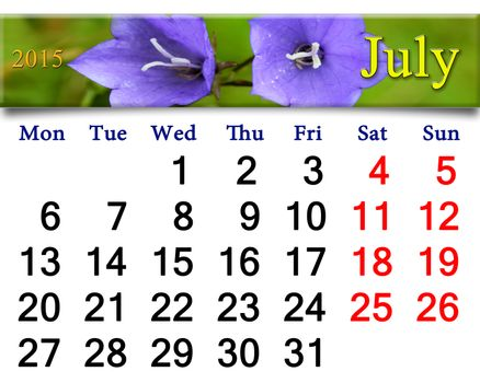 calendar for July of 2015 year with bluebells