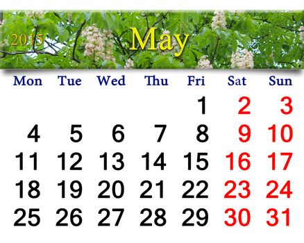 calendar for May of 2015 year with chestnut