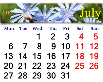 calendar for the July of 2015 year with flowers