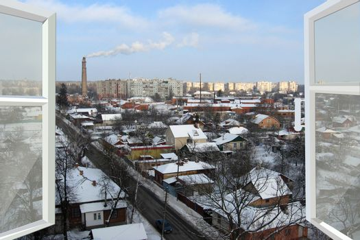 open window to the winter city