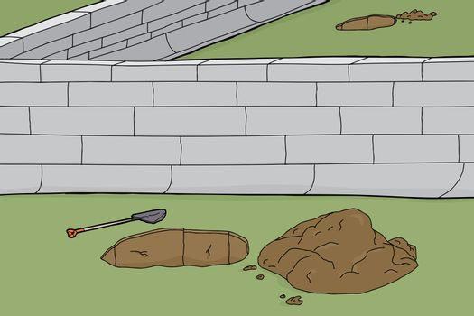 Holes and Boundary Wall