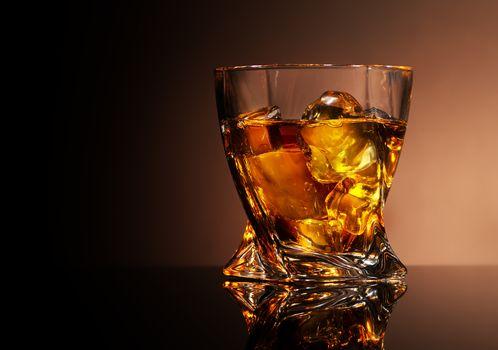 Glass of golden brandy