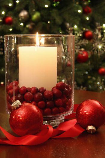 Christmas candle buring brightly