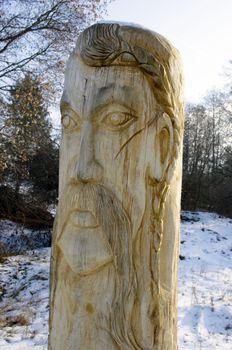 Wooden statue of the Slavic idol.  Ukraine.