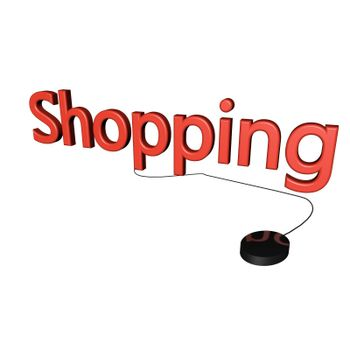 Shopping word with mouse linked, isolated over white, 3d render