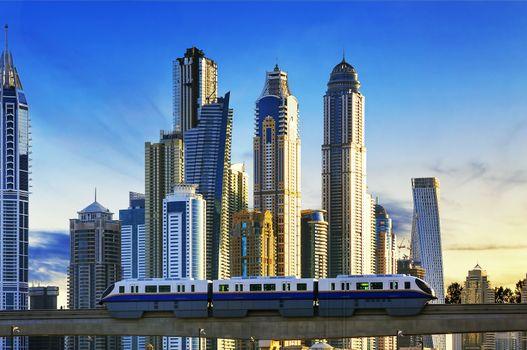 subway at sunset in Dubai Marina