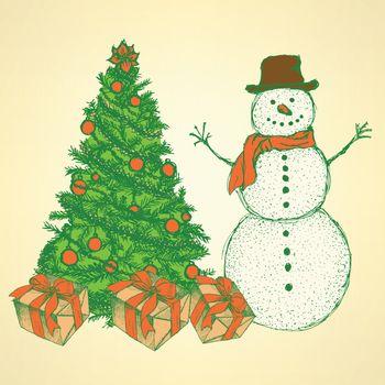 Sketch Christmas set in vintage style, vector