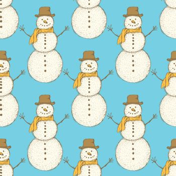 Sketch Christmas snowman in vintage style, vector