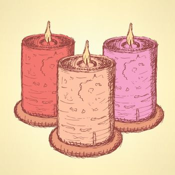 Sketch cute candle in vintage style, vector
