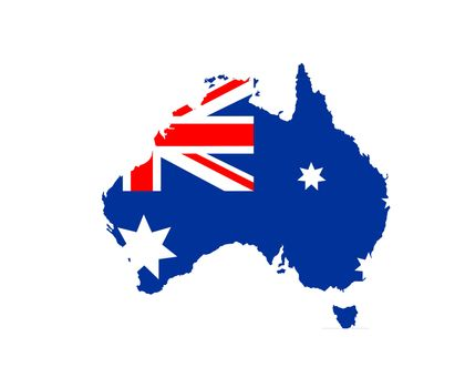 australia country national flag map shape illustration