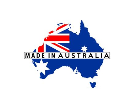 made in australia country national flag map shape with text
