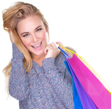 Cute girl with shopping bags