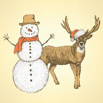 Sketch snowman and raindeer in vintage style, vector