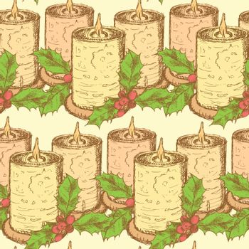 Sketch candle with mistletoe in vintage style, vector seamless pattern