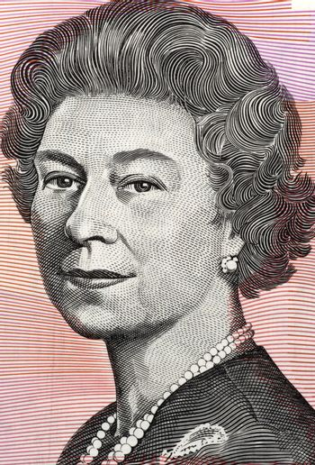 Queen Elizabeth II  (born 1926) on 5 Dollars 1992 banknote from Australia. Queen of the United Kingdom.