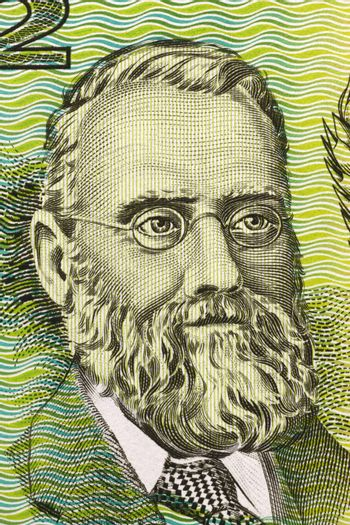 William Farrer (1845-1906) on 2 Dollars 1966 banknote from Australia. Leading Australian agronomist and plant breeder.