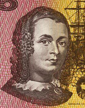 Caroline Chisholm (1808-1877) on 5 Dollars 1967 banknote from Australia. Progressive 19th century English humanitarian.
