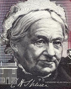 Catherine Helen Spence (1825-1910) on 5 Dollars 2001 banknote from Australia. Scottish born Australian author, teacher, journalist, politician and leading suffragist.