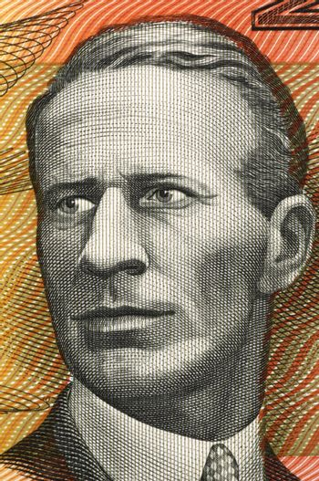 Charles Kingsford Smith (1897-1935) on 20 Dollars 1974 banknote from Australia. Early Australian aviator.
