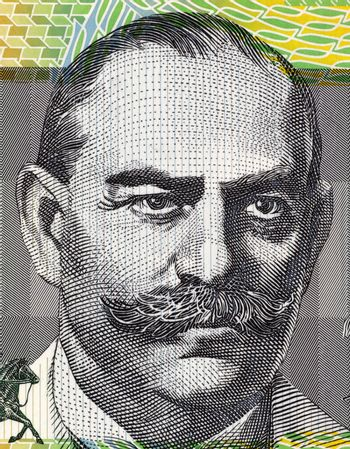John Monash (1865-1931) on 100 Dollars 1996 banknote from Australia. Civil engineer who became an Australian military commander in the First World War.