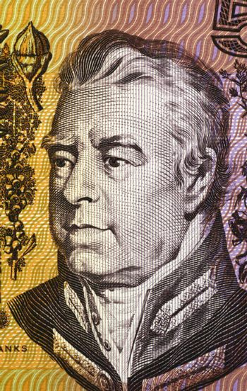 Joseph Banks (1743-1820) on 5 Dollars 1967 banknote from Australia. English naturalist, botanist and patron of the natural sciences.