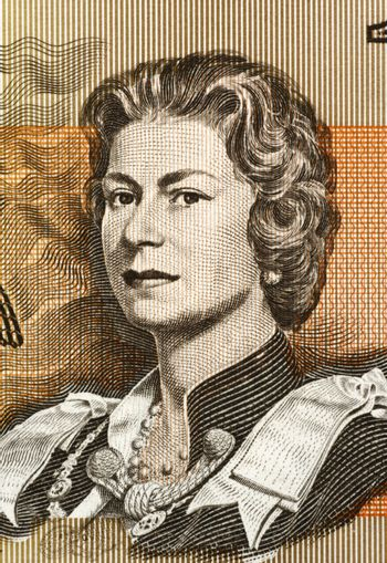 Queen Elizabeth II  (born 1926) on 1 Dollar 1966 banknote from Australia. Queen of the United Kingdom.