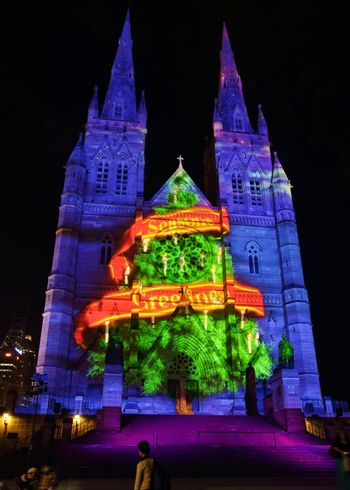 Christmas tree seasons greetings St Mary's Cathedral, Sydney