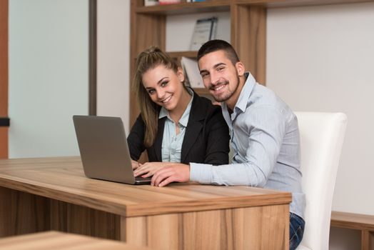 Happy Couple Student In Library With Laptop