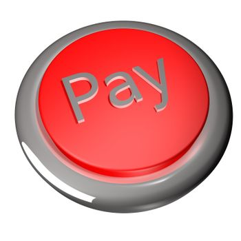 Pay button isolated over white, 3d render