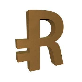 Ruble symbol isolated over white, 3d render