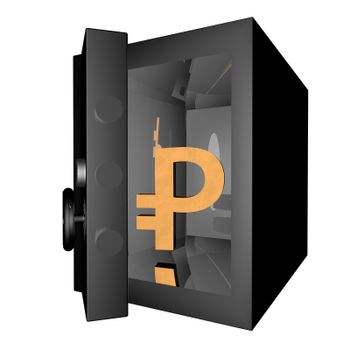 Ruble symbol in a vault, 3d render