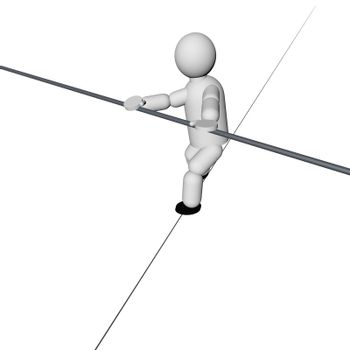 Acrobat walking on the rope isolated over white, 3d render