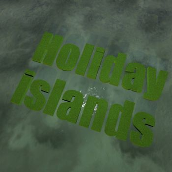 Holiday islands over sea, under sunset light, 3d render