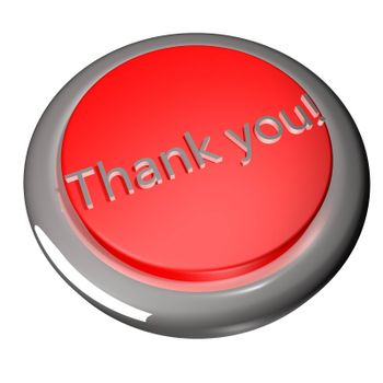 Thank you button isolated over white, 3d render