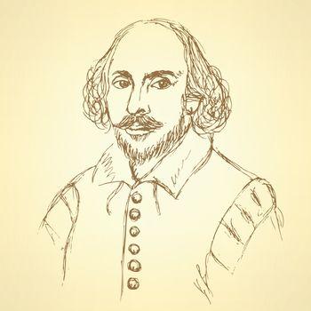 Sketch William Shakespeare portrait in vintage style