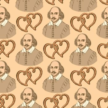 Sketch Shakespeare and hearts in vintage style, vector seamless pattern