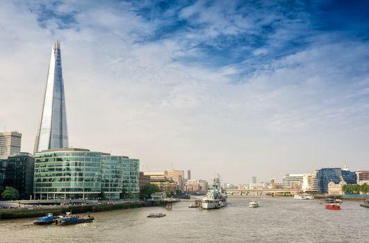 London. River Thames with city landmarks