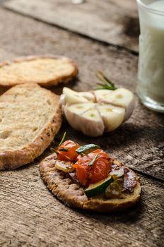 Bruschetta with Mediterranean vegetables