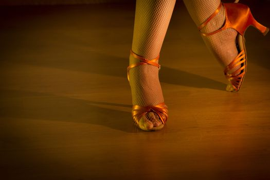 Latin woman dancing feet