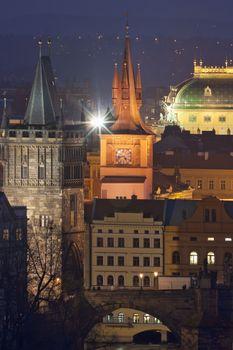prague towers at dusk