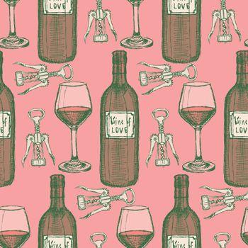 Sketch wine set in vintage style, vector seamless pattern