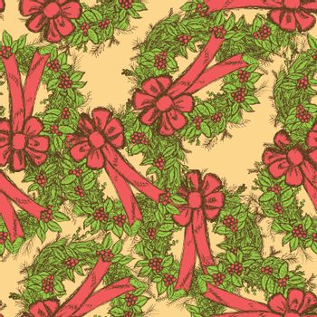 Sketch Christmas seamless pattern in vintage style, vector
