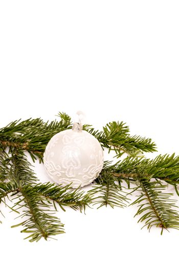 Christmas ball and fir branch for your text