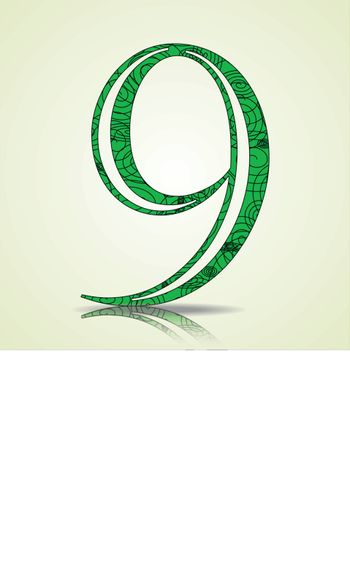 Number of Collection made of swirls - 9 Vector illustration