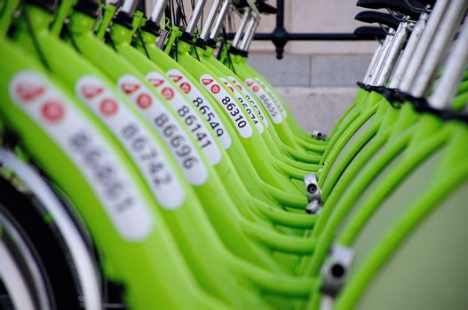 """BUDAPEST, HUNGARY - DECEMBER 12 2014:New Budapest bike hire called """"BUBI"""".Many cities around the world have bicycle sharing systems or community bicycle programs."""