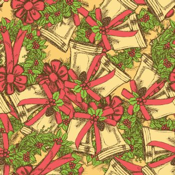 Sketch Christmas bell and wreath in vintage style, vector seamless pattern