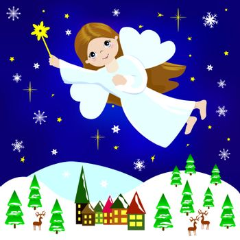 Little girl Christmas angel flying in the night sky over the city and trees, among snowflakes and asterisks.