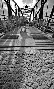 Mozartsteg walking bridge in Salzburg, Austria