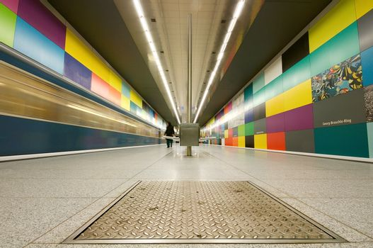 Georg-Brauchle-Ring subway station in Munich, Germany