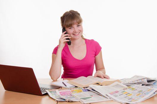 Happy girl calling employer